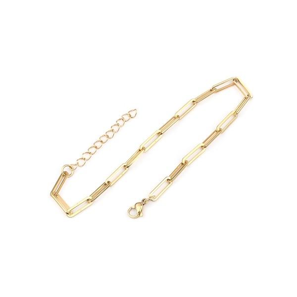 S11650972 PAX 1 Bracelet 23 cm grande maille Rectangle en Acier Inoxydable 304 coloris Doré - Photo n°1