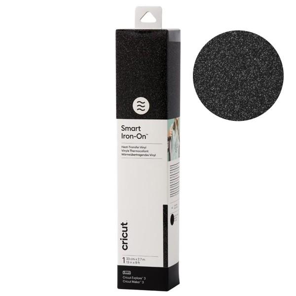 Flex thermocollant Smart Iron-On - Noir pailleté - 33 x 273 cm - 1 feuille - Photo n°1