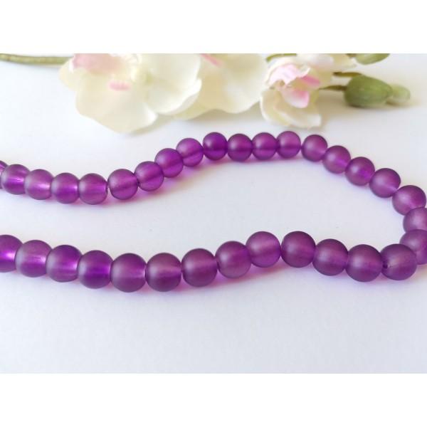 Perles en verre dépoli 8 mm violet foncé x 20 - Photo n°1