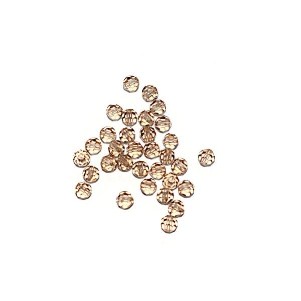 Perle ronde à facettes cristal 4 mm Golden Shadow x10 - Photo n°1