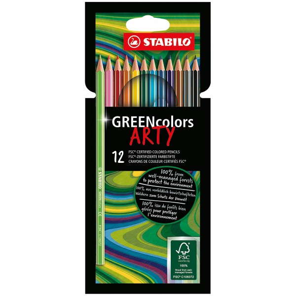 Crayons de couleur Greencolors Arty - 12 pcs - Photo n°1