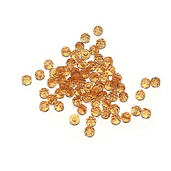 Perle ronde à facettes cristal 4 mm Light Topaz x10 - Photo n°1