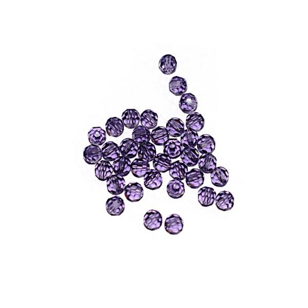 Perle ronde à facettes cristal 4 mm Tanzanite x10 - Photo n°1