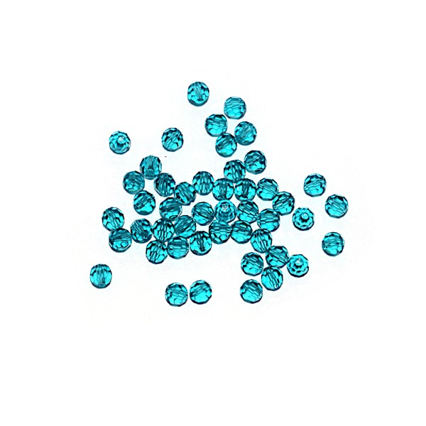 Perle ronde à facettes cristal 4 mm Blue Zircon x10 - Photo n°1