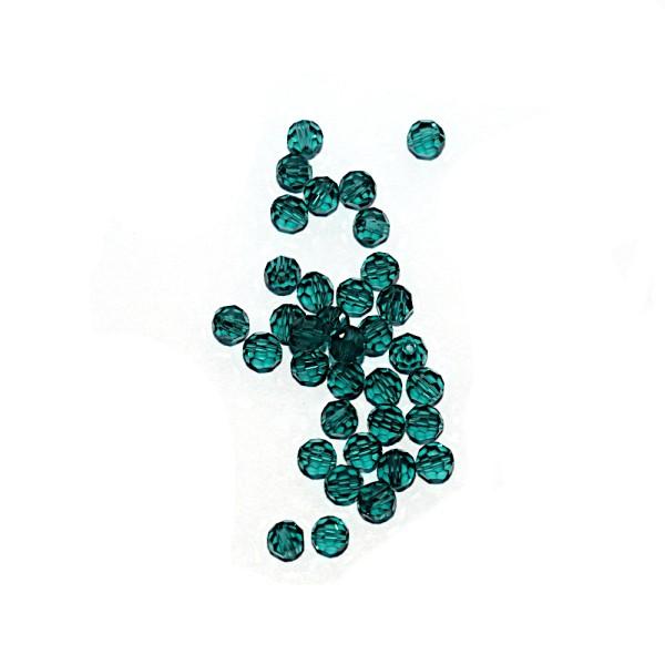 Perle ronde à facettes cristal 4 mm Indicolite x10 - Photo n°1