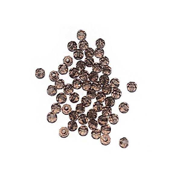Perle ronde à facettes cristal 4 mm Smoky Quartz x10 - Photo n°1