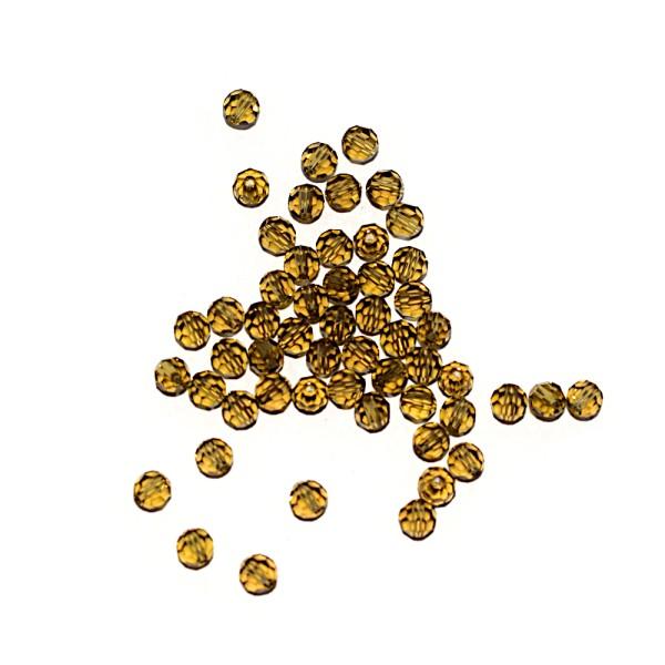 Perle ronde à facettes cristal 4 mm Khaki x10 - Photo n°1