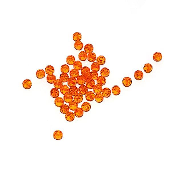 Perle ronde à facettes cristal 4 mm Tangerine x10 - Photo n°1