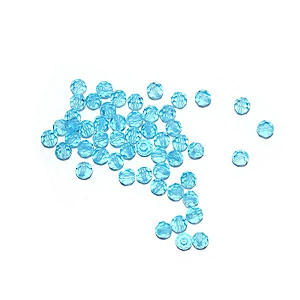 Perle ronde à facettes cristal 4 mm Aquamarine x10 - Photo n°1