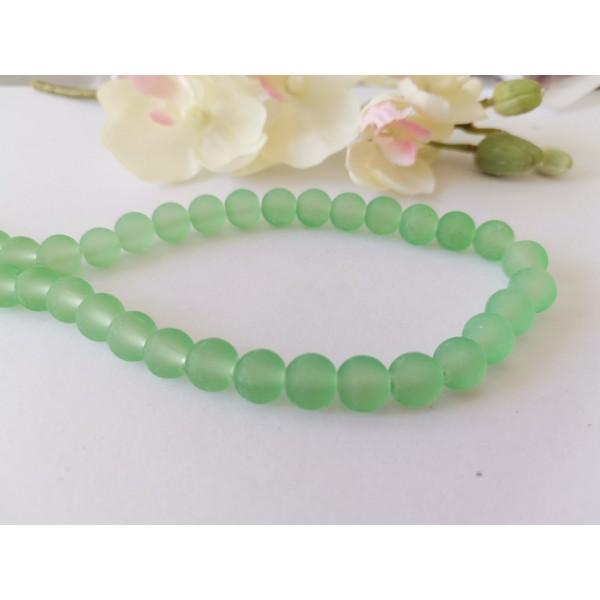 Perles en verre dépoli 8 mm vert pale x 20 - Photo n°1