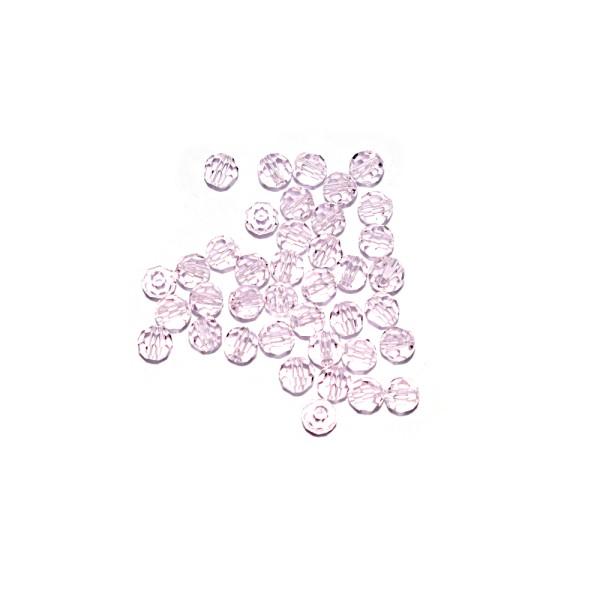 Perle ronde à facettes cristal 4 mm Rosaline x10 - Photo n°1