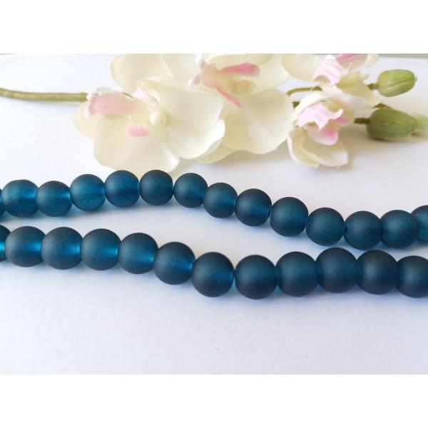 Perles en verre dépoli 8 mm bleu marine x 20 - Photo n°1