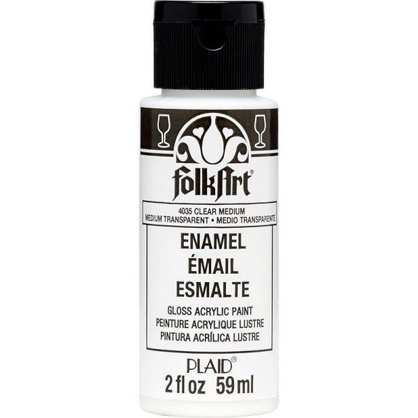 Clear Medium de FolkArt Enamel, 59 ml, peinture acylique Lustre pour porcelaine et verre - Photo n°1