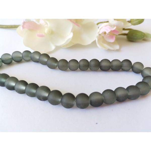 Perles en verre dépoli 8 mm gris foncé x 20 - Photo n°1