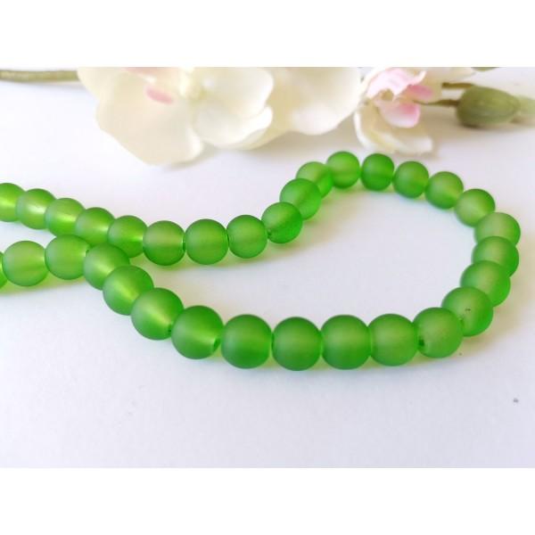 Perles en verre dépoli 8 mm vert x 20 - Photo n°1