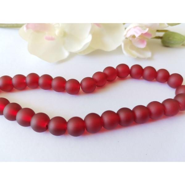 Perles en verre dépoli 8 mm rouge foncé x 20 - Photo n°1