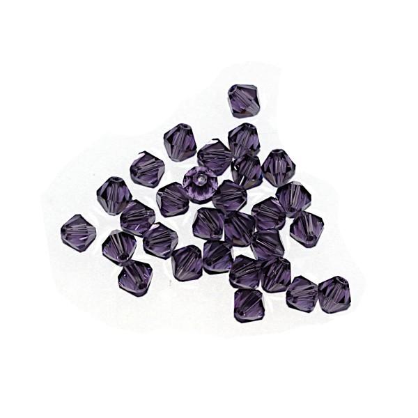 Toupie à facettes cristal 6x6 mm Tanzanite x10 - Photo n°1