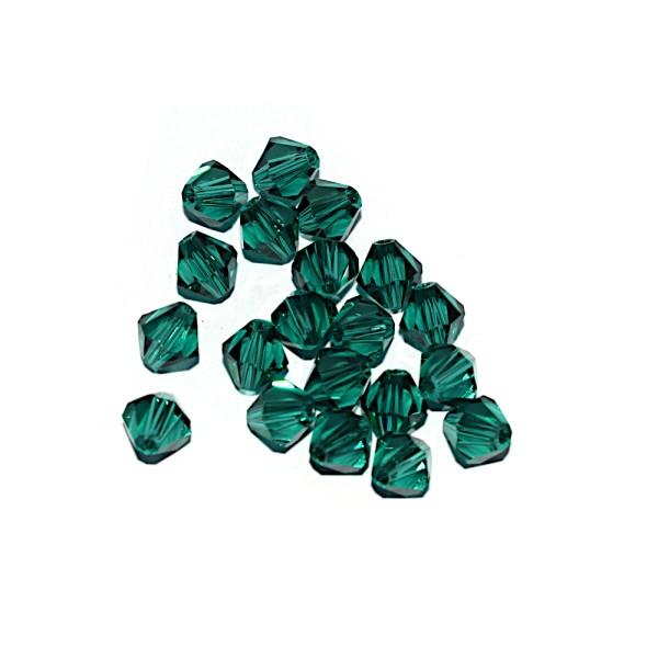 Toupie à facettes cristal 6x6 mm Emerald x10 - Photo n°1