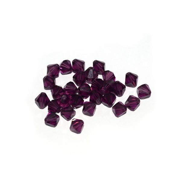 Toupie à facettes cristal 6x6 mm Violet x10 - Photo n°1