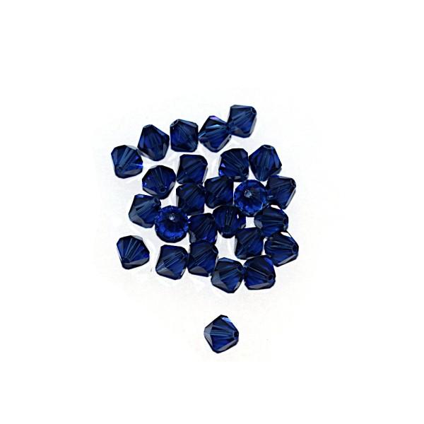 Toupie à facettes cristal 6x6 mm Dark Sapphire x10 - Photo n°1