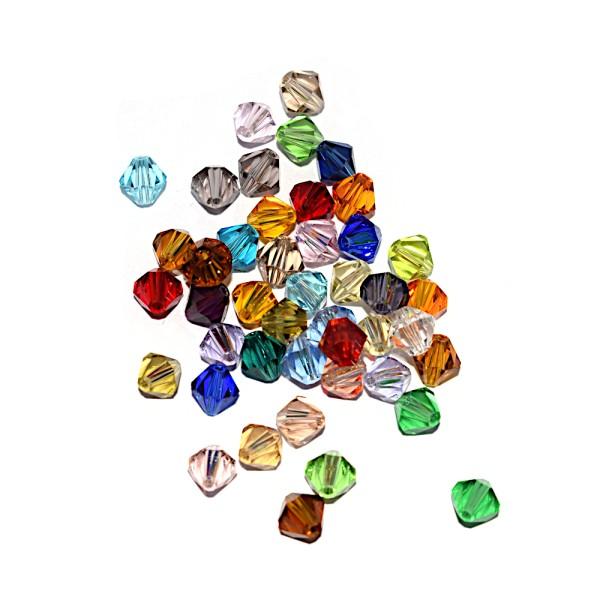 Toupie à facettes cristal 6x6 mm Peridot x10 - Photo n°2