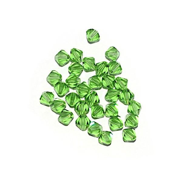 Toupie à facettes cristal 6x6 mm Lime Green x10 - Photo n°1