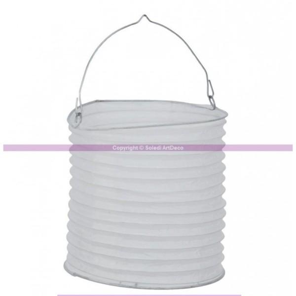 Lanterne Japonaise cylindrique en papier blanc, hauteur 20 cm - Photo n°1