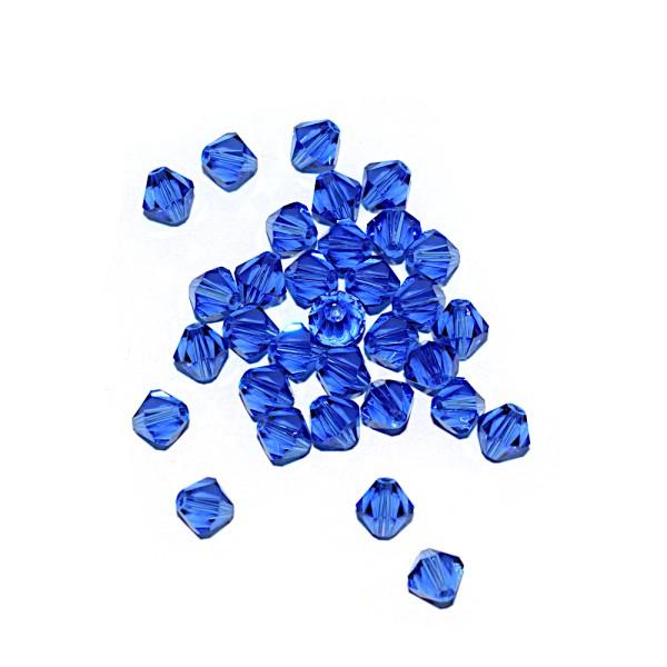 Toupie à facettes cristal 6x6 mm Sapphire x10 - Photo n°1