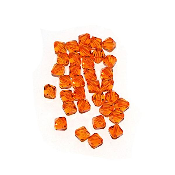 Toupie à facettes cristal 6x6 mm Tangerine x10 - Photo n°1