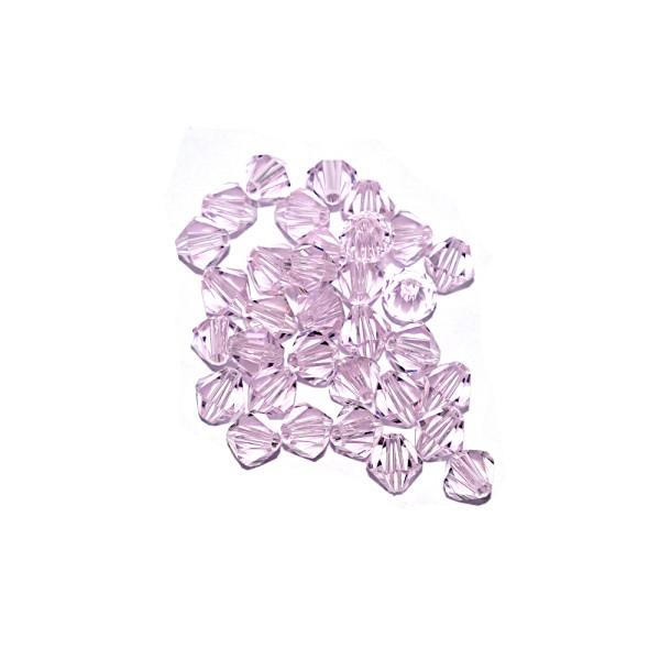 Toupie à facettes cristal 6x6 mm Rosaline x10 - Photo n°1