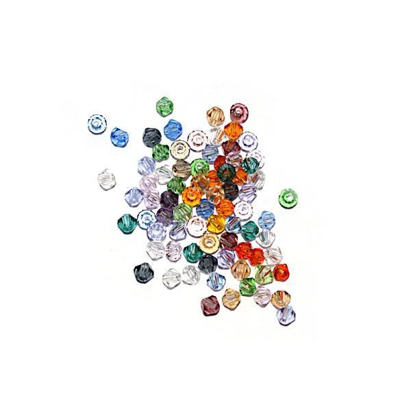 Toupie à facettes cristal 3x3 mm Crystal AB x10 - Photo n°2