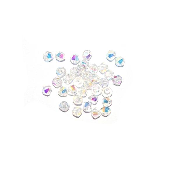 Toupie à facettes cristal 3x3 mm Crystal AB x10 - Photo n°1