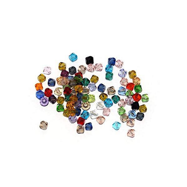 Toupie à facettes cristal 4x4 mm Fireopal x10 - Photo n°2