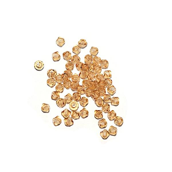 Toupie à facettes cristal 3x3 mm Gold Champagne x10 - Photo n°1