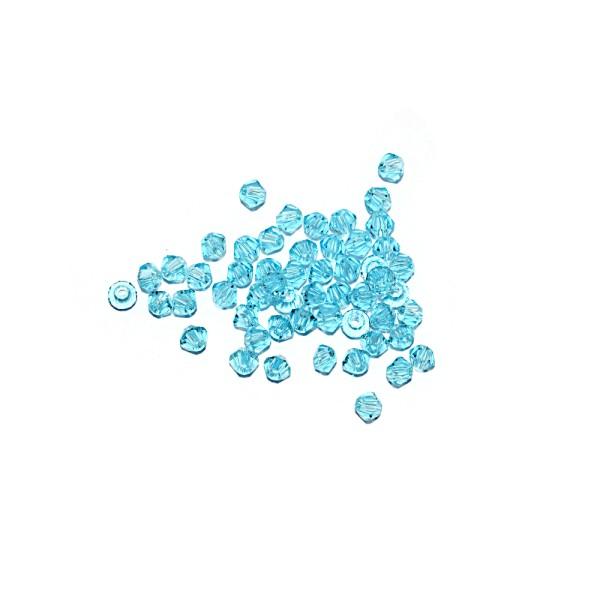 Toupie à facettes cristal 3x3 mm Aquamarine x10 - Photo n°1