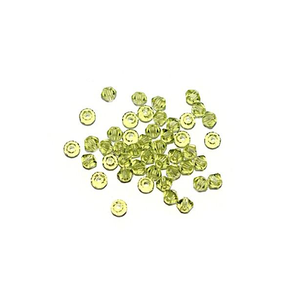 Toupie à facettes cristal 3x3 mm Light Olivine x10 - Photo n°1