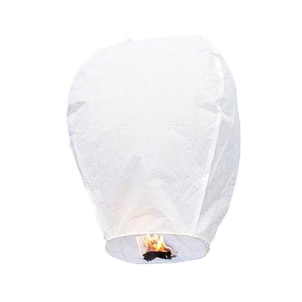 Montgolfière céleste, Lampion papier biodégradable ignifugé blanc, Lanterne haut. 1 mètre - Photo n°1