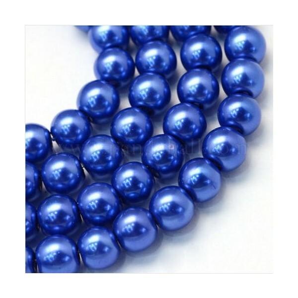100 perles rondes en verre nacré fabrication bijoux 4 mm BLEU - Photo n°1