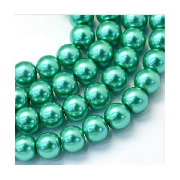 100 perles rondes en verre nacré fabrication bijoux 4 mm VERT TURQUOISE - Photo n°1