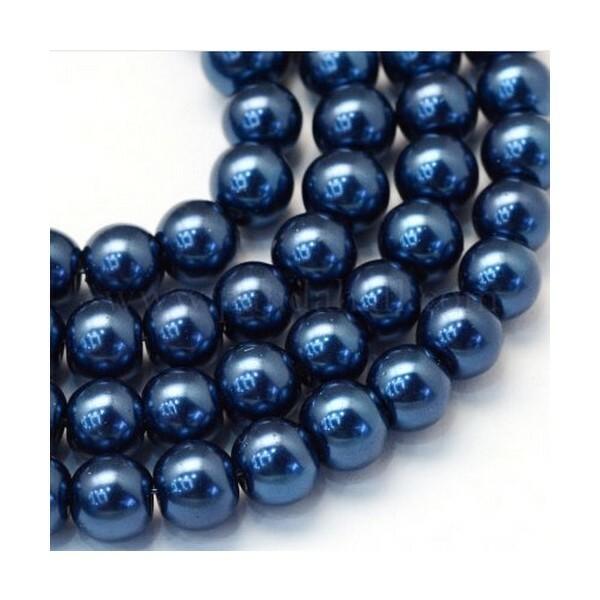 100 perles rondes en verre nacré fabrication bijoux 4 mm BLEU FONCE - Photo n°1