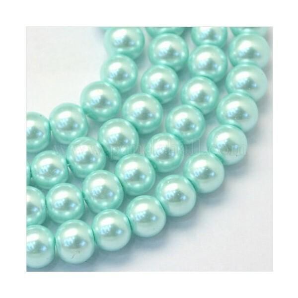 100 perles rondes en verre nacré fabrication bijoux 4 mm BLEU CLAIR - Photo n°1