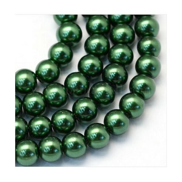100 perles rondes en verre nacré fabrication bijoux 4 mm VERT FONCE - Photo n°1