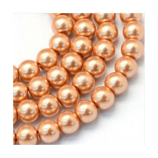 100 perles rondes en verre nacré fabrication bijoux 4 mm SAUMON - Photo n°1