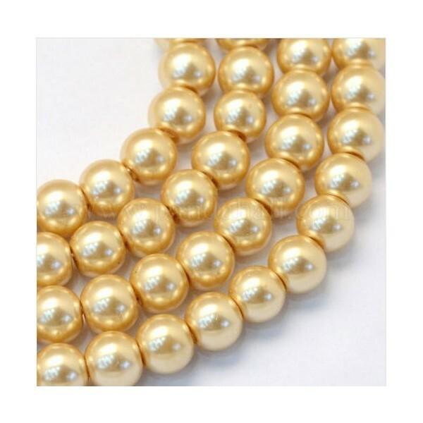 100 perles rondes en verre nacré fabrication bijoux 4 mm DORE 2 - Photo n°1