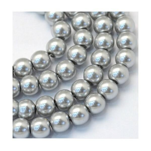 100 perles rondes en verre nacré fabrication bijoux 4 mm GRIS CLAIR - Photo n°1