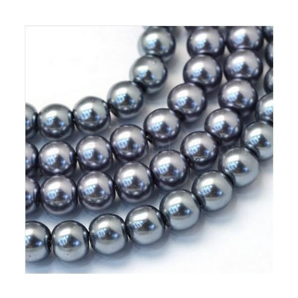 100 perles rondes en verre nacré fabrication bijoux 4 mm GRIS FONCE - Photo n°1