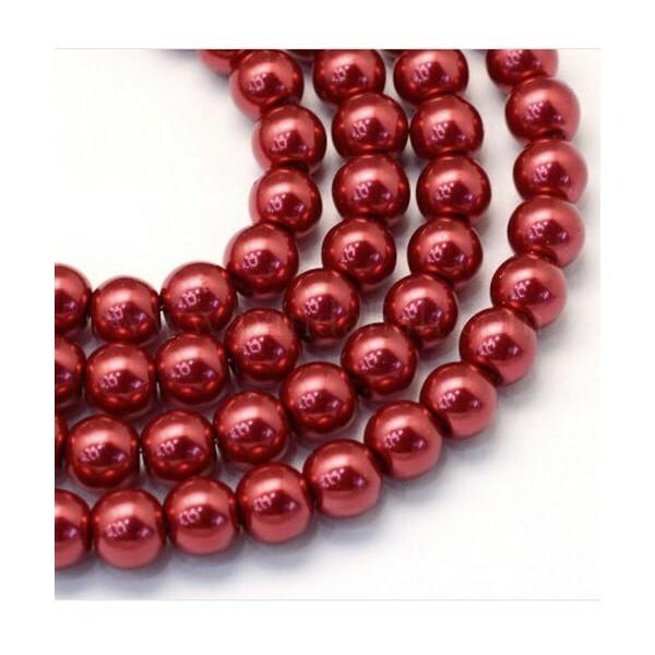 100 perles rondes en verre nacré fabrication bijoux 4 mm ROUGE - Photo n°1