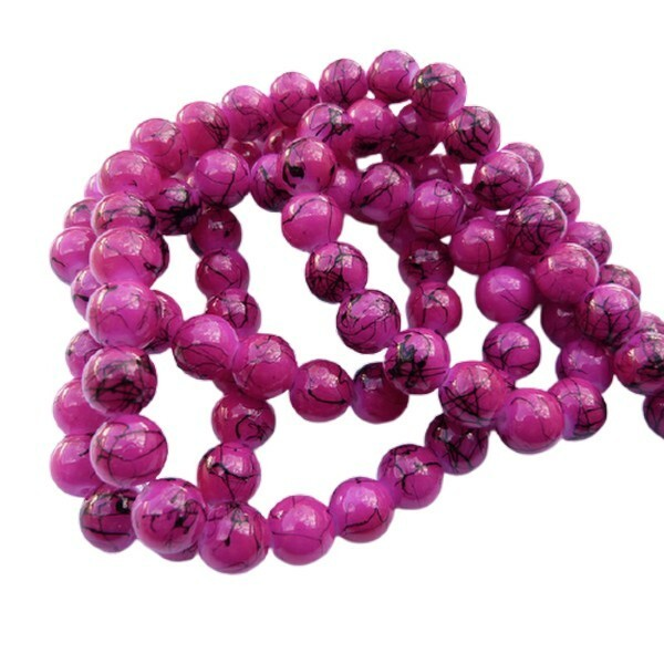 30 perles ronde en verre drawbench fabrication bijoux 8 mm FUSHIA - Photo n°1