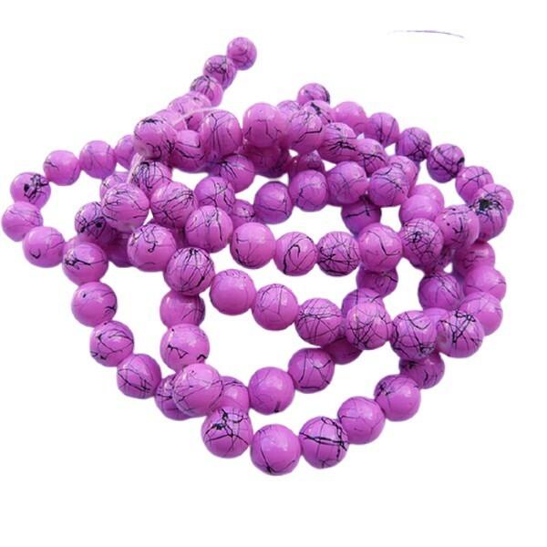 30 perles ronde en verre drawbench fabrication bijoux 8 mm ROSE VIF - Photo n°1