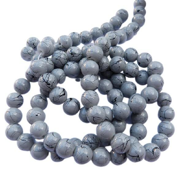 30 perles ronde en verre drawbench fabrication bijoux 8 mm GRIS - Photo n°1
